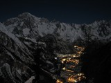 Night view of the valley of Courmayeur